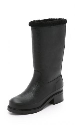 Кожаные сапоги Original на подкладке из короткой шерсти Hunter Boots. Цвет: голубой