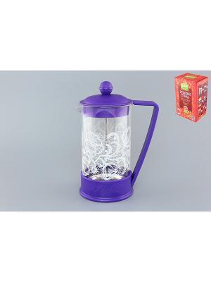 Чайник с поршнем Viva - Кружево Цветы Elan Gallery. Цвет: фиолетовый, прозрачный