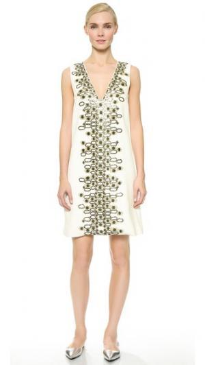 Свободное платье с вышивкой Wes Gordon. Цвет: белый/травянистый зеленый/оранжевая вышивка