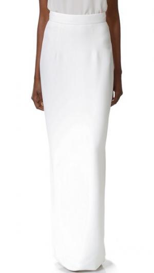 Длинная прямая юбка Monique Lhuillier. Цвет: белый шелк