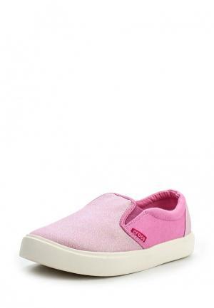 Слипоны Crocs. Цвет: розовый