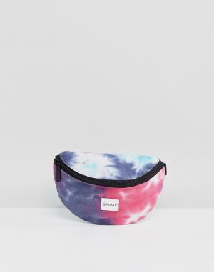 Spiral Сумка-кошелек на пояс с принтом тай-дай. Цвет: синий