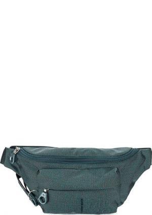 Текстильная поясная сумка на молнии Mandarina Duck. Цвет: бирюзовый