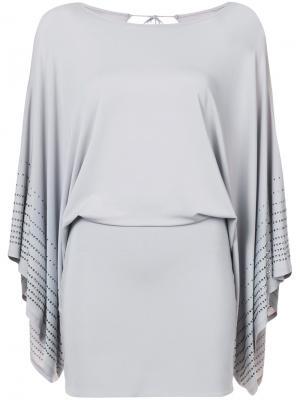 Gem embellished flared sleeves mini dress Thomas Wylde. Цвет: серый