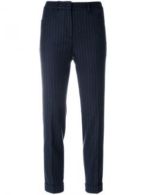 Укороченные брюки в полоску Incotex. Цвет: синий