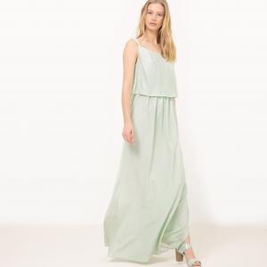 Платье длинное без рукавов La Redoute Collections. Цвет: бирюзовый,черный