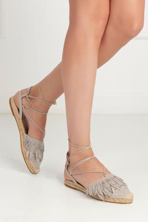 Замшевые сандалии Pocahontas Aquazzura. Цвет: серый