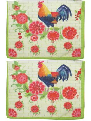 Набор полотенец из микрофибры дизайн Петушок 40*60 - 2 шт. Dorothy's Нome. Цвет: красный, кремовый, зеленый