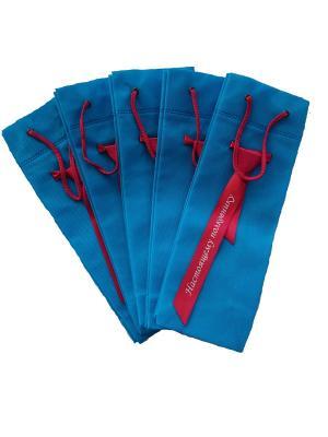 Набор сувенирных пакетиков из спанбонда с галстуком и надписью Эко-Пак-ДЗ. Цвет: синий, красный