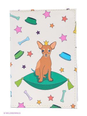 Обложка для автодокументов Королева пёсиков на бежевом Mitya Veselkov. Цвет: молочный, розовый, зеленый