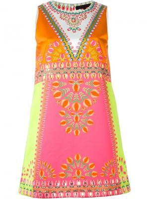 Платье А-силуэта с принтом тюльпанов Manish Arora. Цвет: жёлтый и оранжевый