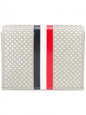 Double Card Holder With Red, White And Blue Vertical Stripe In Perforated Pebble Grain & Calf Leather Thom Browne. Цвет: серый