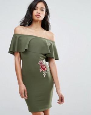 Parisian Платье с открытыми плечами и вышивкой розы. Цвет: зеленый