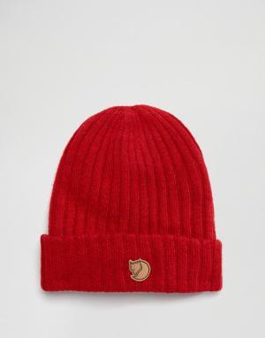 Fjallraven Красная шерстяная шапка-бини Byron. Цвет: красный