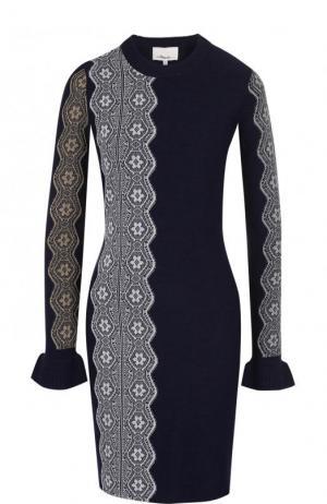 Вязаное мини-платье с длинным рукавом и кружевной отделкой 3.1 Phillip Lim. Цвет: темно-синий