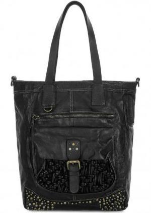 Вместительная сумка из натуральной кожи Taschendieb. Цвет: черный