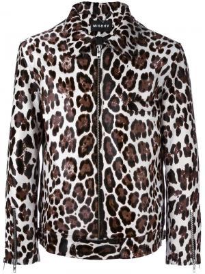 Леопардовая куртка из телячьей шерсти Misbhv. Цвет: коричневый