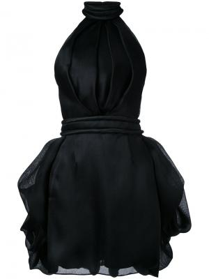 Платье мини с тюрнюром Brandon Maxwell. Цвет: чёрный