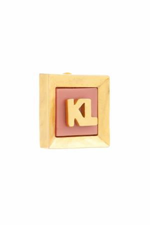 Винтажные клипсы (80-е) Karl Lagerfeld Vintage. Цвет: золотой, розовый