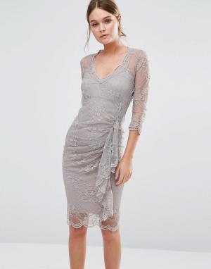 Body Frock Кружевное моделирующее платье с оборкой Fifi. Цвет: коричневый