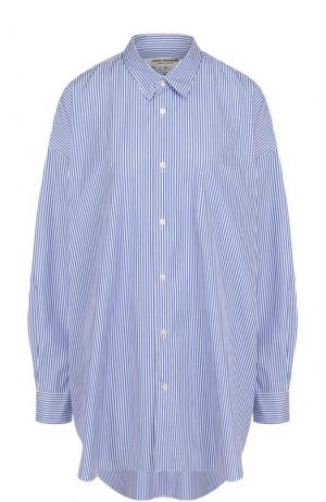 Хлопковая блуза свободного кроя в полоску Junya Watanabe. Цвет: голубой