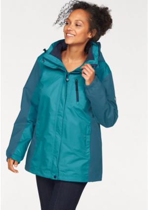 Куртка 3 в 1 POLARINO. Цвет: зелено-синий, черный