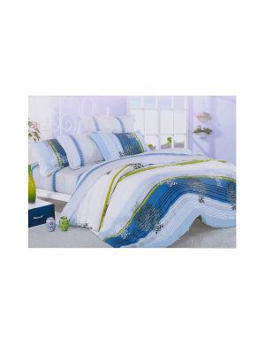 Комплект постельного белья 6 предметов HAMRAN. Цвет: белый, зеленый, синий