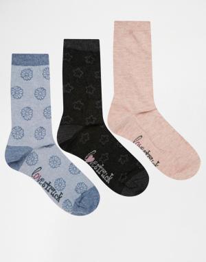 Lovestruck 3 пары серых носков с изнаночным рисунком в виде звездочек. Цвет: grey star