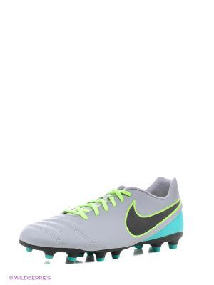 Бутсы TIEMPO RIO III FG Nike. Цвет: светло-серый, зеленый, черный