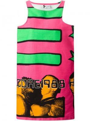 Платье Hardcore 1988 Stephen Sprouse Vintage. Цвет: розовый и фиолетовый