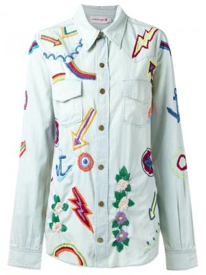 Embroidered denim shirt Isabela Capeto. Цвет: синий