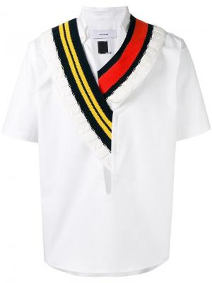 Рубашка с трикотажным воротником Facetasm. Цвет: белый