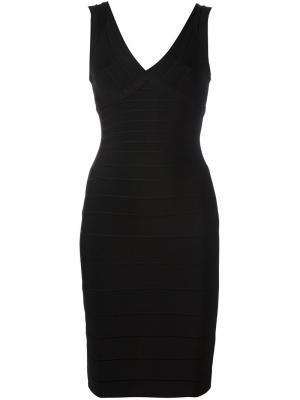 Облегающее платье с V-образным вырезом Hervé Léger. Цвет: чёрный