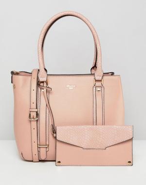 Dune Розовая сумка-тоут со съемным кошельком Dylier. Цвет: розовый