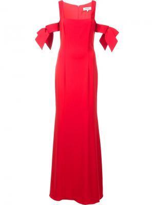 Вечернее платье с открытыми плечами Badgley Mischka. Цвет: красный