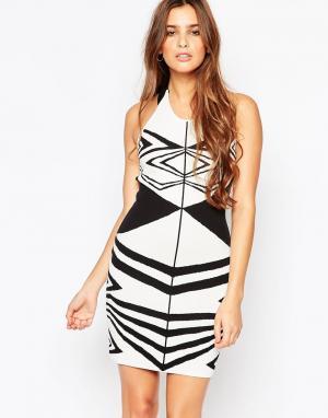 Adelyn Rae Облегающее платье с геометрическим дизайном. Цвет: мульти