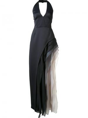 Вечернее платье с оборками Halston Heritage. Цвет: чёрный