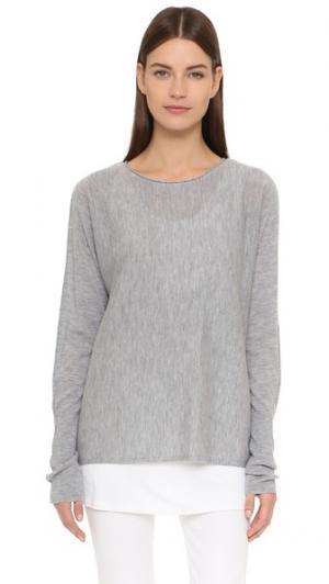 Кашемировый свитер с напуском Tess Giberson. Цвет: серый меланж
