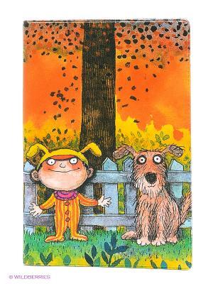 Обложка для паспорта Мальчик и пес Mitya Veselkov. Цвет: оранжевый, желтый, зеленый, коричневый