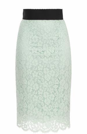 Кружевная юбка-карандаш с контрастным поясом Dolce & Gabbana. Цвет: светло-зеленый