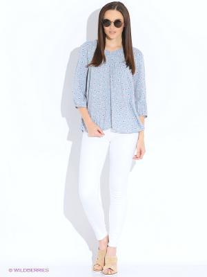 Блуза b.young. Цвет: серо-голубой, коричневый, темно-синий