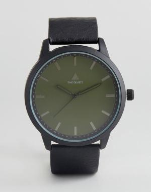 ASOS Часы с черным ремешком из искусственной кожи и зеленым циферблатом ASO. Цвет: черный