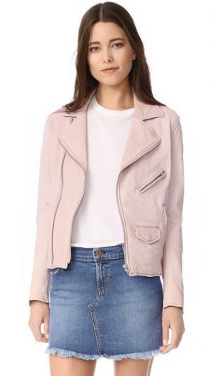 Винтажная байкерская куртка June. Цвет: розовый