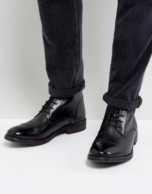 Base London Блестящие черные кожаные ботинки в стиле милитари Clapham. Цвет: черный