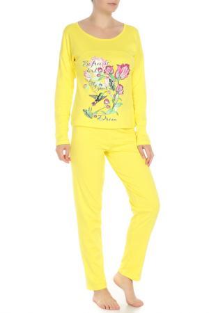 Комплект: лонгслив, брюки Веста. Цвет: желтый