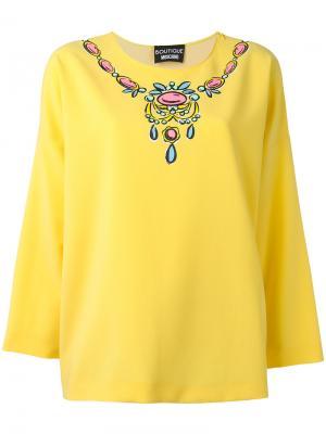 Блузка с принтом колье Boutique Moschino. Цвет: жёлтый и оранжевый