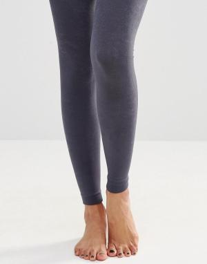Plush Вязаные колготки на флисовой подкладке без носка. Цвет: серый