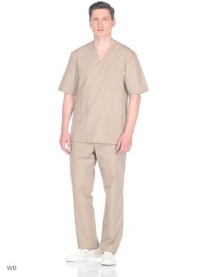 Блузка медицинская Med Fashion Lab. Цвет: бежевый, хаки
