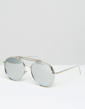 Jeepers Peepers Солнцезащитные очки-авиаторы. Цвет: серебряный