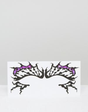 Facelace Декоративные наклейки для век в виде бабочки Face Lace. Цвет: черный